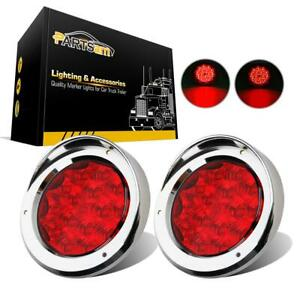 2x15led Red 4 Round Tail Stop Turn Brake Light W 2 Kinds Of Chrome Bezels Cover