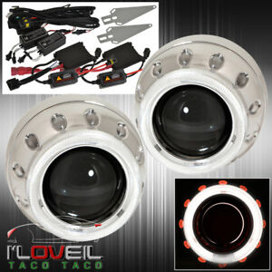 For Vw Lotus Projectors Retrofit Headlights Dual Red White Halo Ring Hid 6k