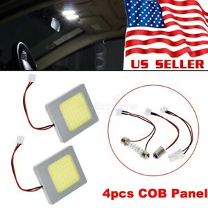4x White Cob Led Panel Lights Car Interior Dome Map Trunk Bulbs Lamps 12v