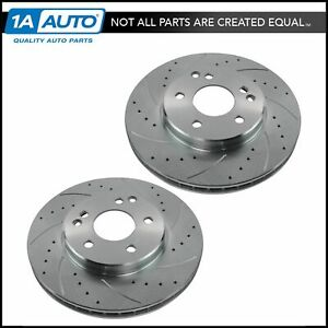 Nakamoto Front Drilled Slotted Brake Rotor Coated Pair For Mercedes