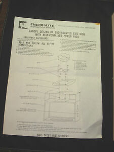 Emergi lite Exit Sign 120 277vac Wall Or Ceiling Self powered Single double Face