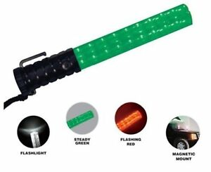 Police Security Crossing Guard Officer Green Red Led Baton Wand Flashlight Light
