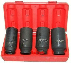 4pc Mm 1 2 Dr Front Back Wheel Drive Axle Nut Deep Impact 12 Points Socket