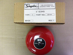 New Simplex 624 503 6 Gong Type 6 Red Fire Alarm