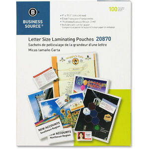 3 Mil Letter Laminating Pouches 9 X 11 5 Inches Business Source 100 Count