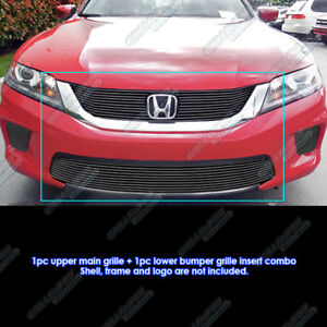 Fits 2013 2015 Honda Accord Coupe Bolt Over Black Billet Grille Combo