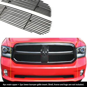 Fits 2013 2014 Ram 1500 Express Model Black Billet Grille Combo