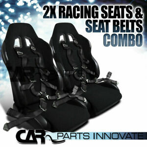 Jdm Black Cloth Pvc Reclinable Racing Bucket Seats Pair W Camlock Belt Harness