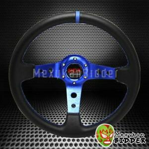 Universal Black blue 350mm Drifting 6 bolt Deep Dish Steering Wheel Honda Acura