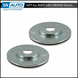 Nakamoto Performance Disc Brake Rotor Drilled Slotted Front Zinc Coated Pair