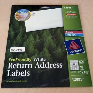 600 Avery White Return Address Labels 2 3 X 1 3 4 Laser inkjet Ecofriendly Green