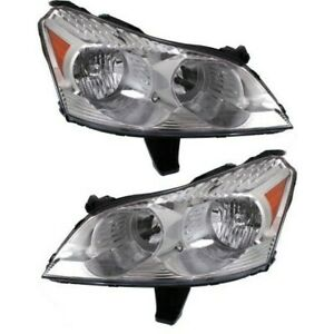 Headlight Set For 2009 2012 Chevrolet Traverse With Amber Turn Signal Light 2pc