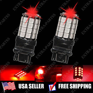 2 X Pure Red 3157 5050 36 Smd Led Light Bulbs Stop Tail Brake Parking 3057 3457