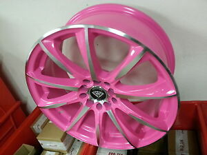 18 Inch 1026 Pink Machine Wheels Rims Tires Fit Camry Mustang Accord Civic