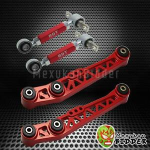 New Red Rear Lower Control Arm Suspension Camber Kit Acura Integra 90 01 Da Dc2