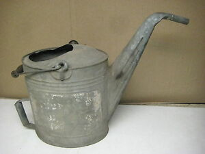 Vintage Antique Galvanized Metal Watering Can W Wood Handle Free Shipping