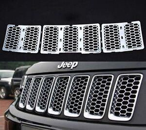 For 2014 2015 2016 Jeep Grand Cherokee Upper Grille Insert Honeycomb Mesh Chrome