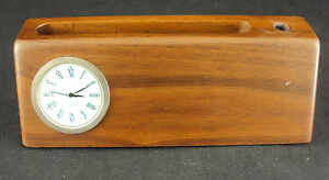 Business Card Holder W clock Woodessen Walnut Solid Wood Free Shipping New