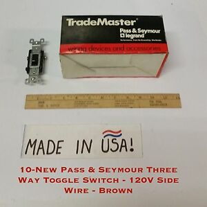 10 new Pass Seymour Three Way Toggle Switch 120v Side Wire Brown