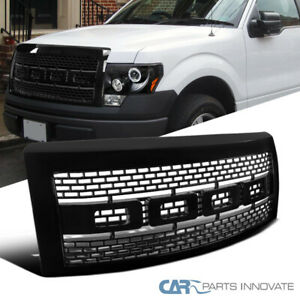 09 14 Ford F150 F 150 Pickup Raptor Style Black Front Hood Grill Grille W Shell