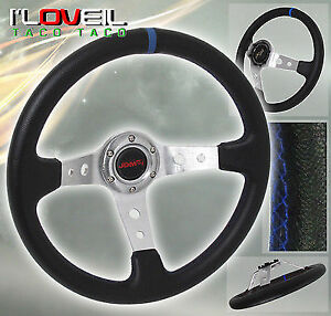 350mm Deep Dish Racing 6 Bolt Silver Steering Wheel Pvc Leather Blue Strip