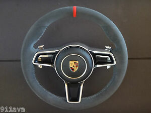 991 Gt3 Rs 991 Carrera 997 2 Turbo S Cayman Alcantara Steering Wheel Red Top
