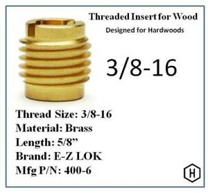 E z Lok P n 400 6 3 8 16 Threaded Brass Insert For Wood 10 Pieces
