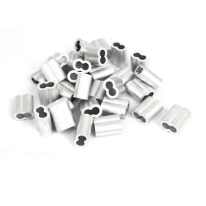 10mm 3 8 Double Hole Aluminum Swage Sleeve Wire Rope Clamp Clip 30 Pcs