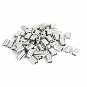 1 4 Double Hole Aluminum Swage Sleeve Wire Rope Clamp Clip 80 Pcs