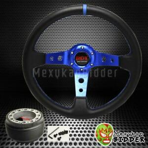 350mm Black blue Drifting Deep Dish Steering Wheel Hub Adapter Civic 88 91 Ef