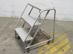 3 step Aluminum Rolling Safety Ladder 29 High 20 Wide