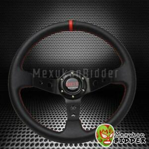 Unversal 350mm Drifting Red Stitching Deep Dish Racing Steering Wheel Black