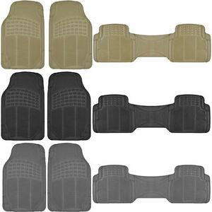 3pc All Weather Front Rubber Car Floor Mats Back Row Rear Runner
