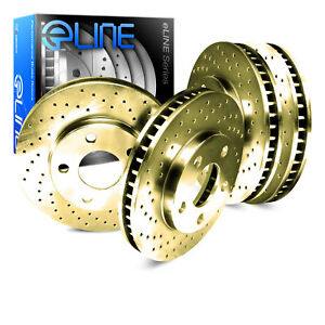 For 1996 1997 Volkswagen Golf Jetta Passat Front Rear Gold Drilled Brake Rotors
