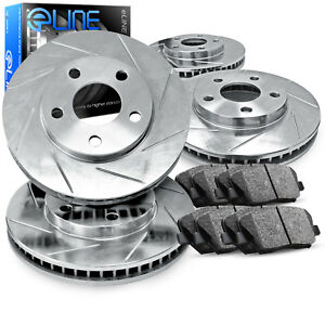 2012 2016 Ford Focus Full Kit Eline Slotted Brake Disc Rotors Ceramic Pads
