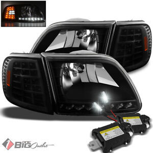 For 6000k Slim Xenon Hid Kit 97 03 Ford F150 Led Headlights corner Lights Lamp