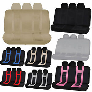 2pc Polyester Suv Back Row Bench Seat Cover Headrest Universal Set