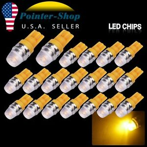 20x Amber Yellow High Power T10 5730 Led Light Bulbs W5w 192 168 194 12v