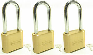 Lock Brass Master Combination 175lh lot Of 3 Long Shackle Resettable Secure