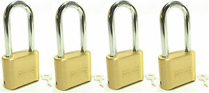 Lock Brass Master Combination 175lh lot Of 4 Long Shackle Resettable Secure