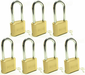 Lock Brass Master Combination 175lh lot Of 7 Long Shackle Resettable Secure