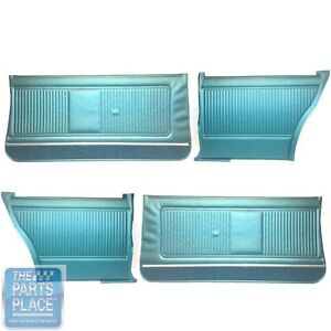 1966 66 Gto Coupe Dark Aqua Front And Rear Assembled Door Panels Set