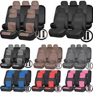 Combo Pu Synthetic Leather Van Front Seats Back Bench Covers Steering