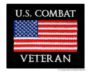 US COMBAT VETERAN PATCH embroidered iron on MILITARY VET IRAQ AFGHANISTAN EMBLEM $4.99