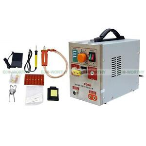 Spot Welder Soldering Iron Staion Battery Charger Tool 2 In 1 1 9kw 709a 60a