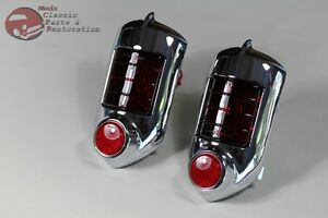 51 52 Chevy Passenger Car Tail Lamp Light Assembly Red Glass Lens Reflector Pair