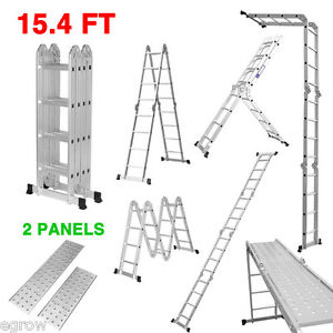330lb 12 1 15 5 Ft Step Platform Multi Purpose Aluminum Folding Scaffold Ladder