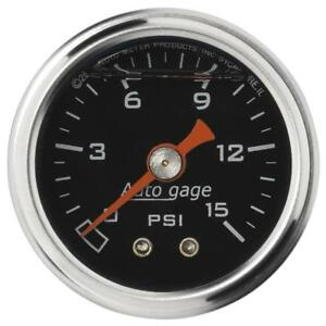 Auto Meter Fuel Pressure Gauge 2172 Auto Gage 0 To 15 Psi 1 1 2 Mechanical