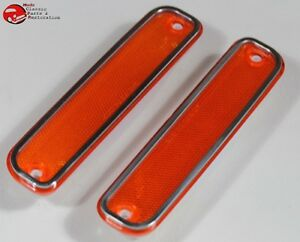 73 80 Chevy Gmc Truck Amber Front Side Marker Lamp Light Lens Set Stainless Trim