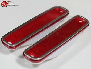 73 80 Chevy Gmc Truck Red Front Side Marker Lamp Light Lens Set Stainless Trim